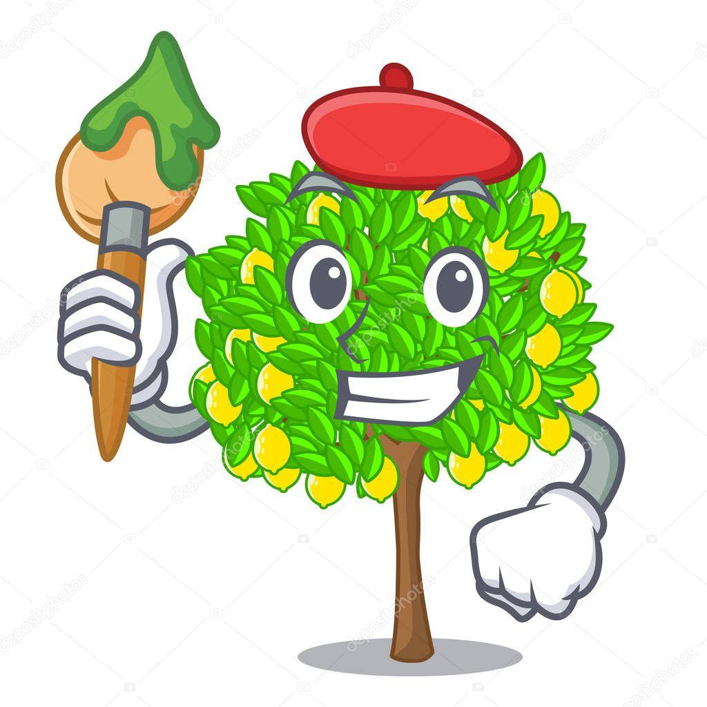 Artist lemon tree in the cartoon shape