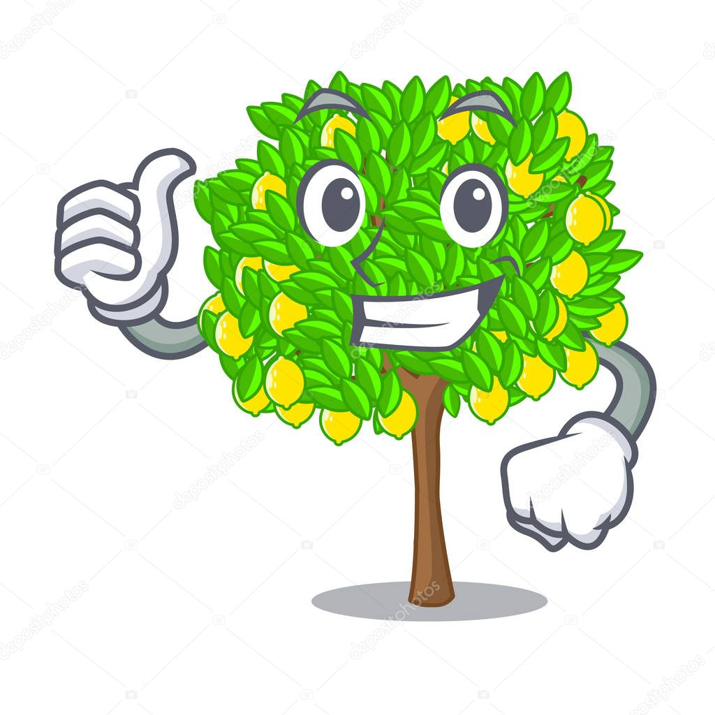 Thumbs up lemon tree isolated with the mascot