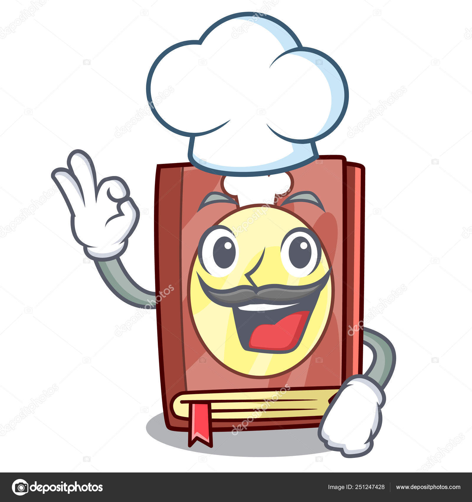 Livre De Recettes De Chef Isole Dans Le Dessin Anime Image
