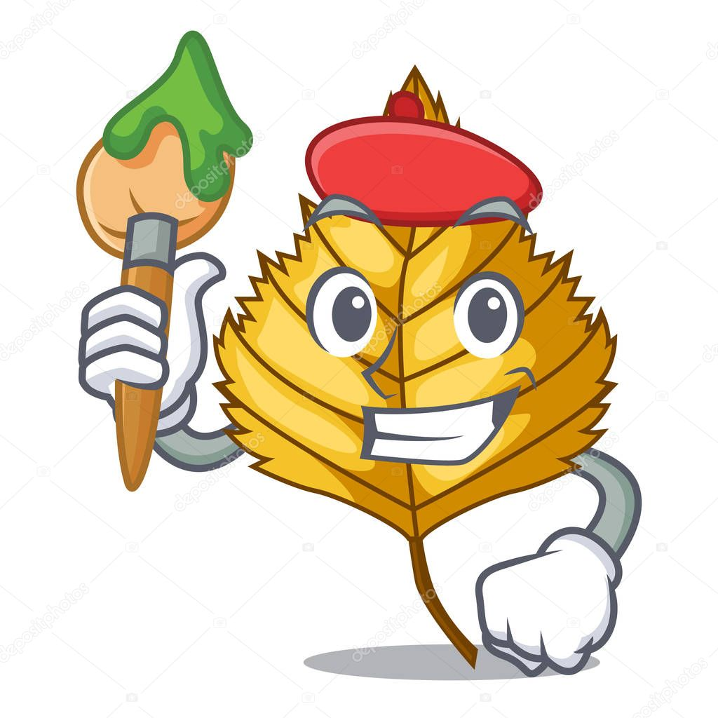 Artist birch leaf in the mascot shape