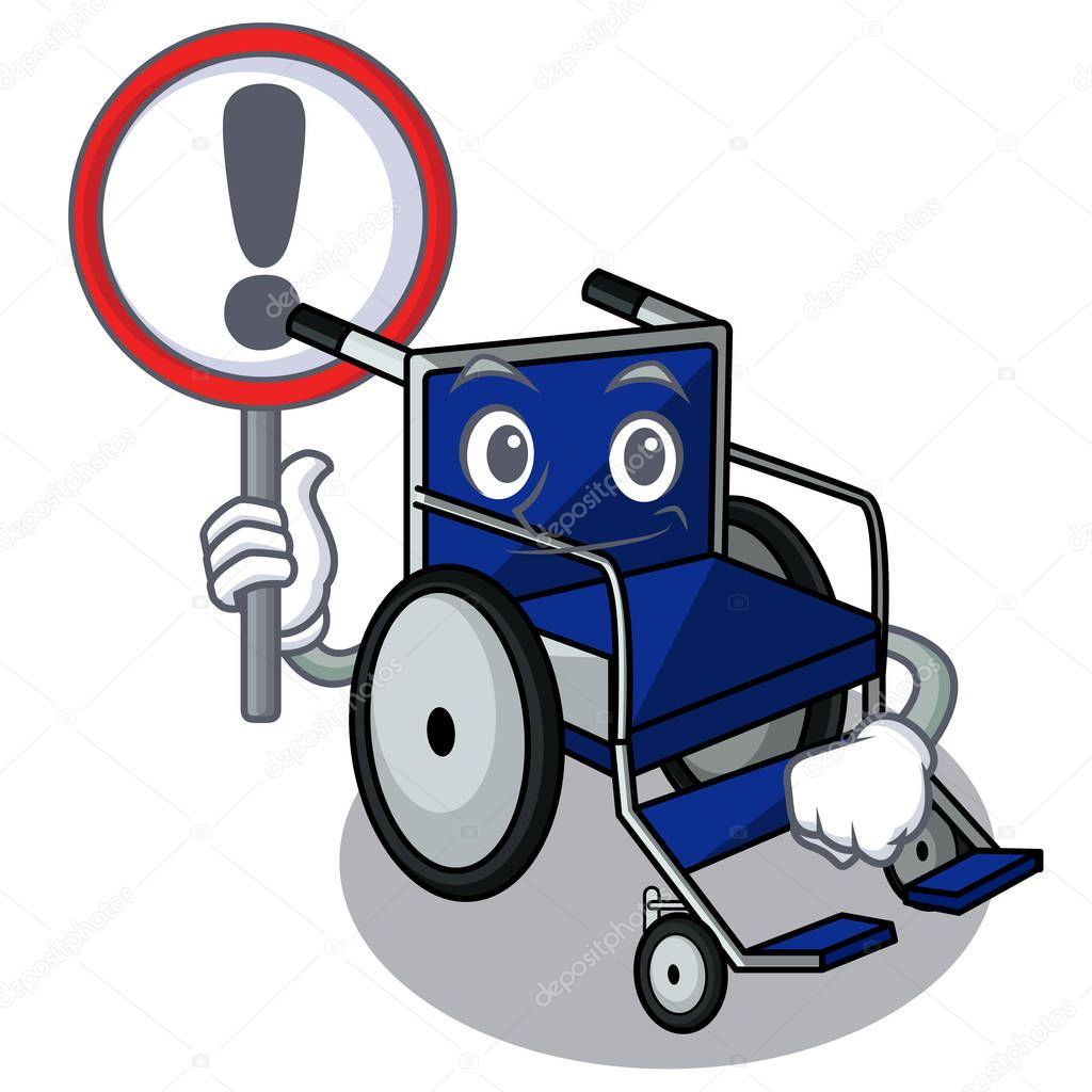 With sign wheelchair isolated with in the cartoon