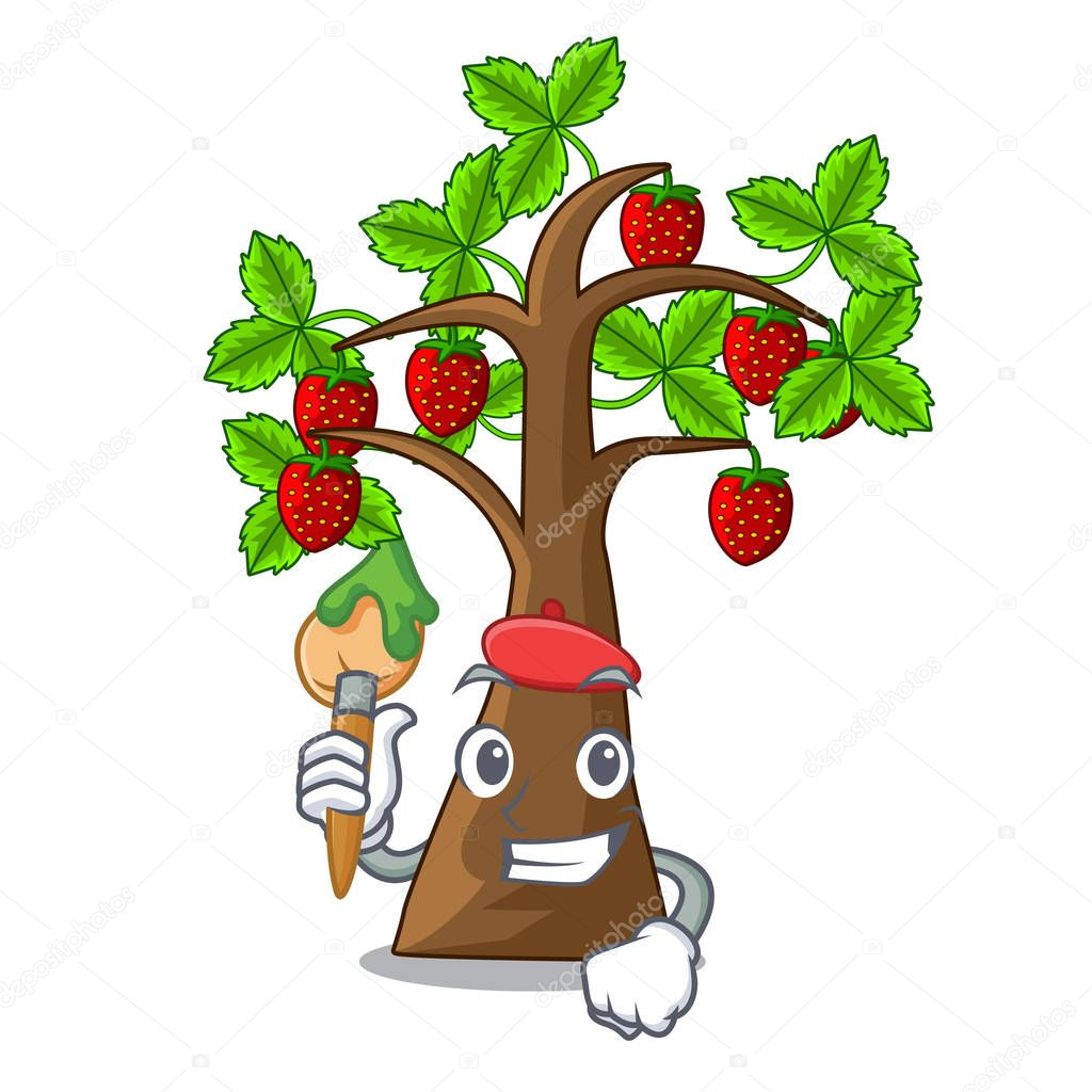 Artist strawberry tree in the shape character