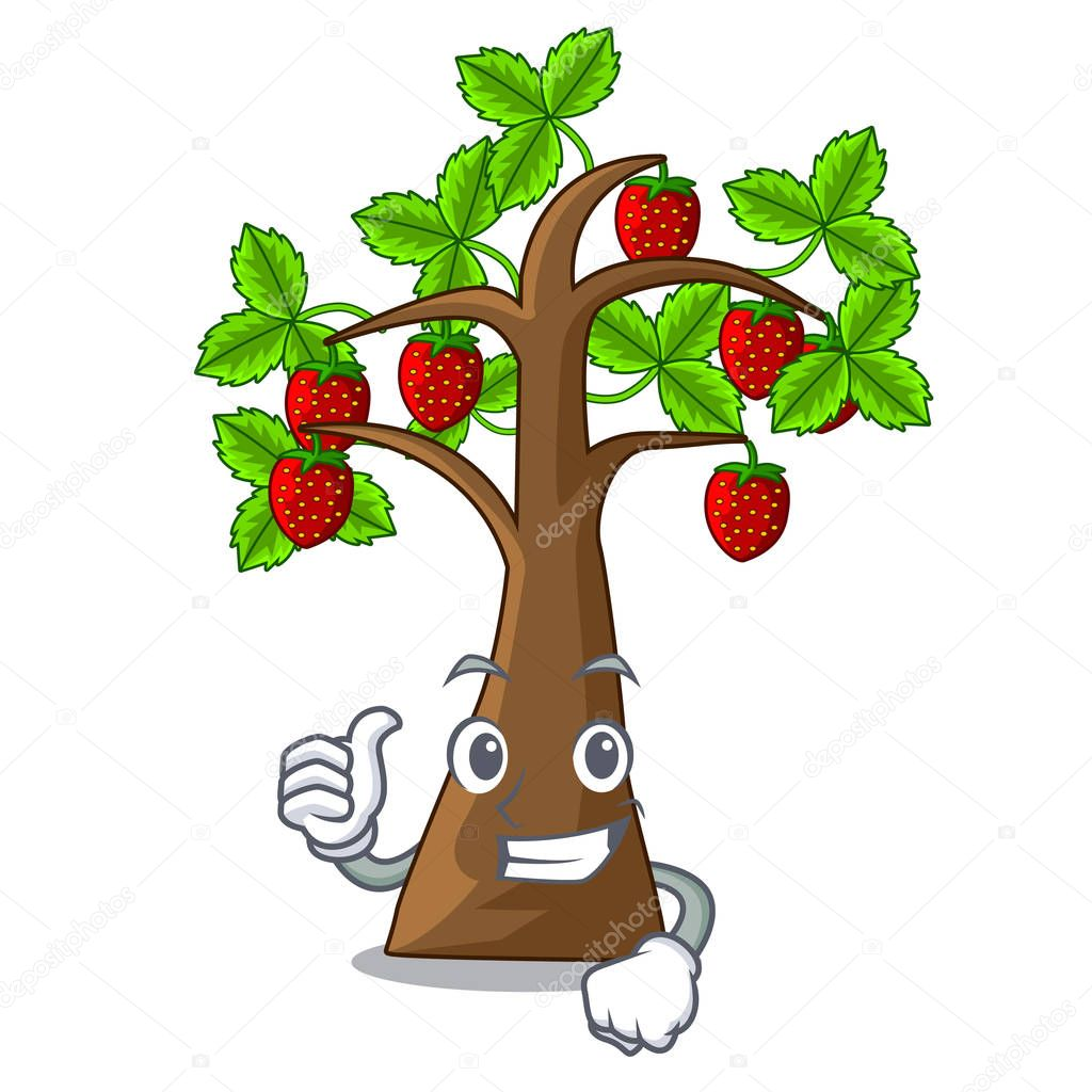 Thumbs up strawberry tree in the mascot pots