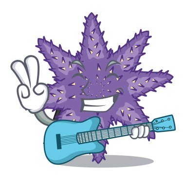 With guitar purple starfish in the character shape