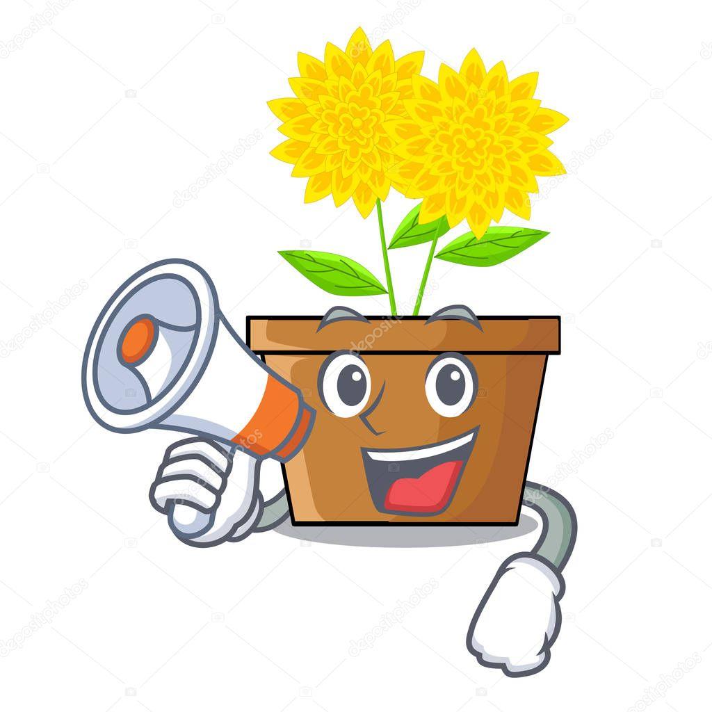With megaphone dahlia flower in the cartoon shape