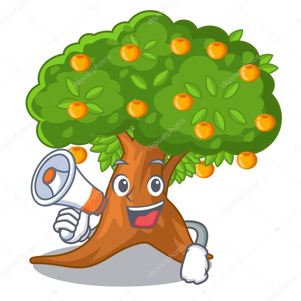 With megaphone orange tree isolated with the mascot
