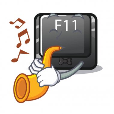 With trumpet button f11 isolated with the cartoon