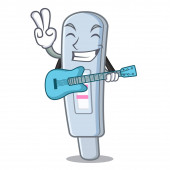 With guitar test pack in cartoon medicine cabinet