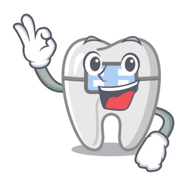 Okay braces isolated with in the cartoon