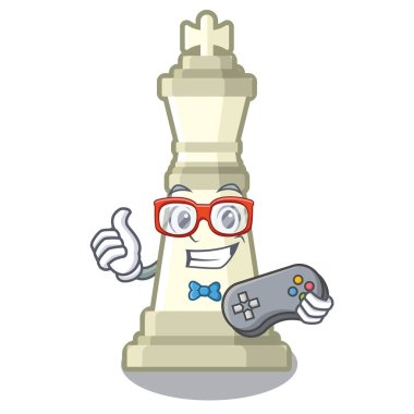 Gamer king chess above wooden cartoon table