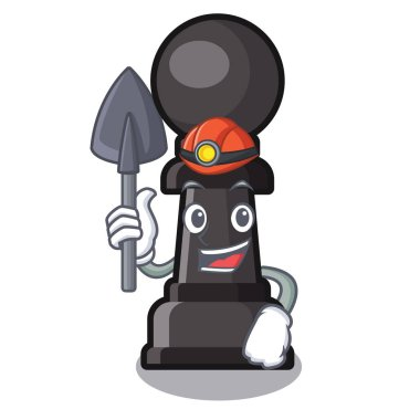 Miner chess pawn in the cartoon shape
