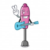 Fotografie With guitar immersion blender isolated in the cartoon