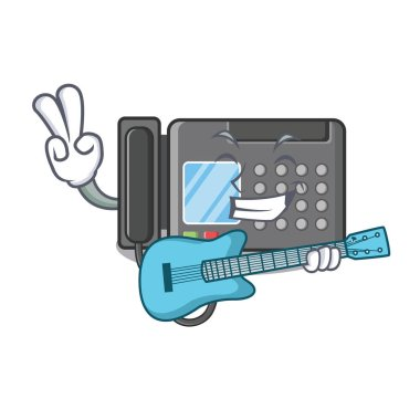With guitar fax machine above the cartoon table