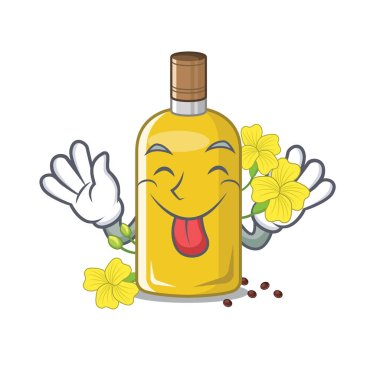 Tongue out canola oil poured into cartoon glass