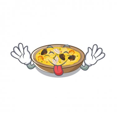 Tongue out spanish paella isolated in the character
