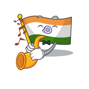 With trumpet flag indian isolated in the character