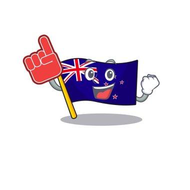 Foam finger flag new zealand in cartoon drawer