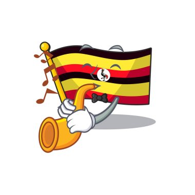 With trumpet flag uganda isolated in the cartoon