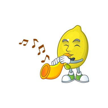 With trumpet lemon cartoon character on white background