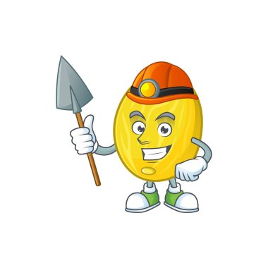 Miner fruit melon cartoon character with mascot
