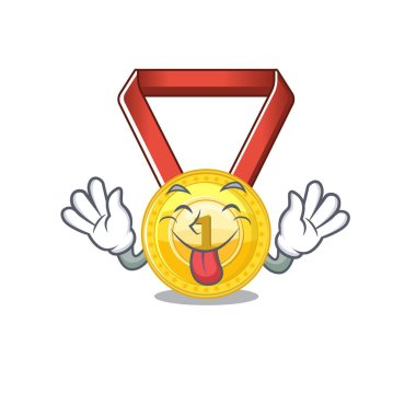 Tongue out gold medal hung on cartoon wall