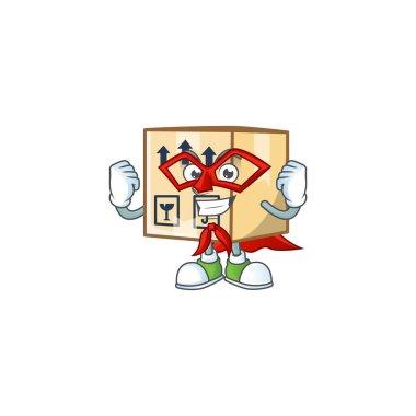 Super hero cardboard close cartoon character mascot style.