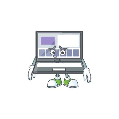 Afraid laptop cartoon mascot on white background.