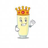 Moudrý král křičící orgasmus koktejl maskot design styl se zlatou korunou
