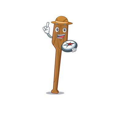 mascot design concept of oars explorer using a compass in the forest