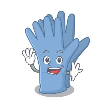 A charming medical gloves mascot design style smiling and waving hand