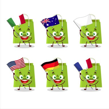 Halloween tote bag cartoon character bring the flags of various countries
