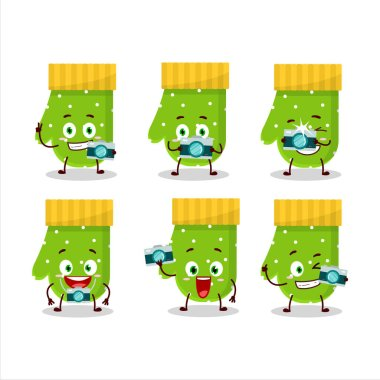 Photographer profession emoticon with green gloves cartoon character.Vector illustration icon