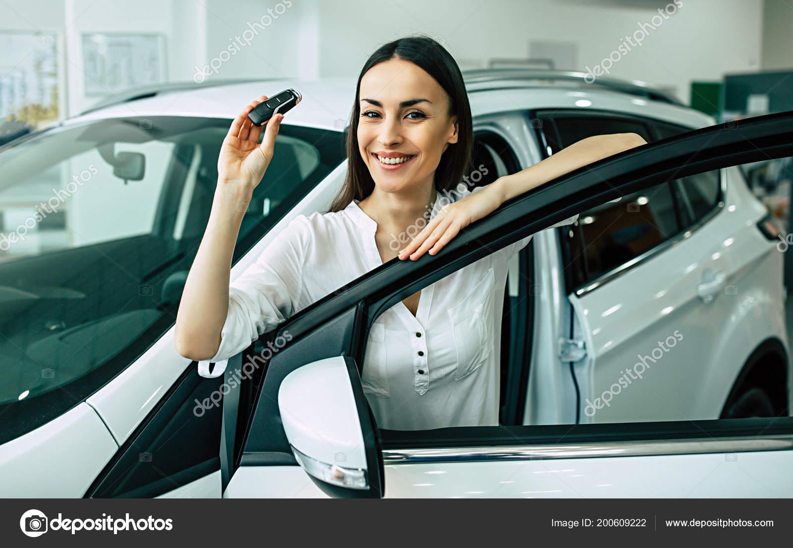 Key Car Dealership >> Portrait Happy Woman Standing New Modern Car Dealership