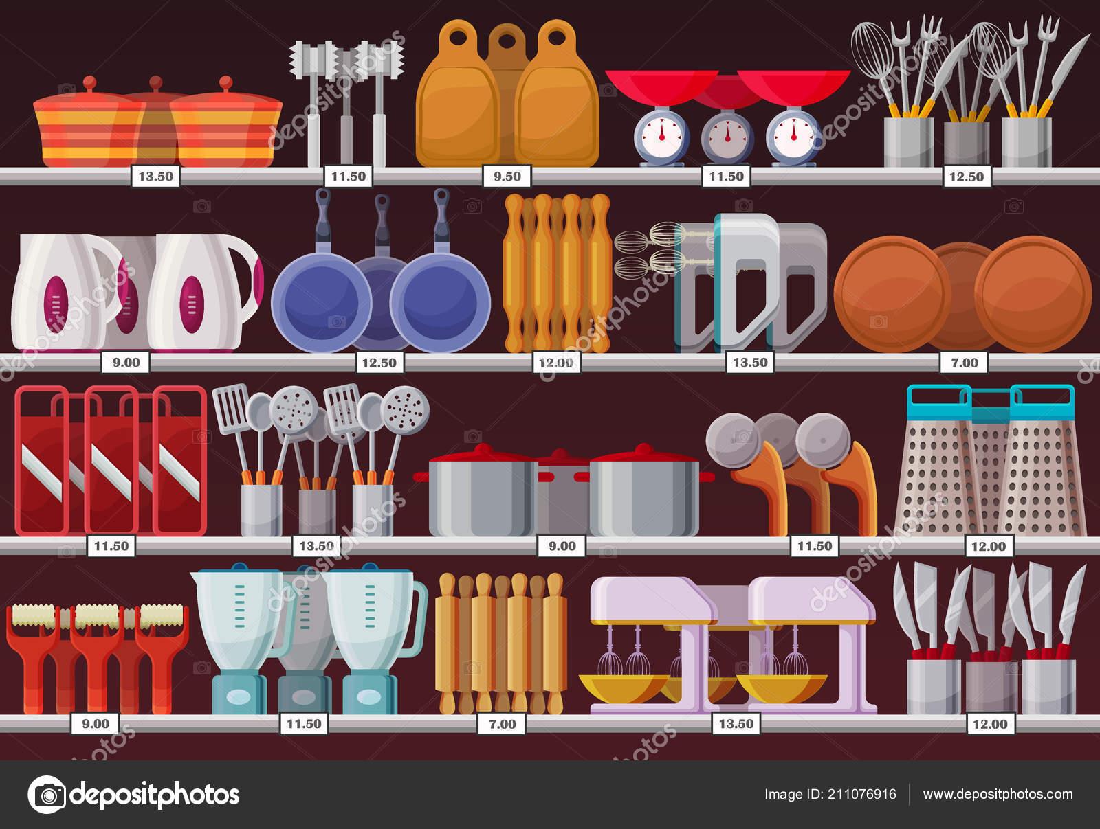 Kitchen appliances or kitchen utensil at shop — Stock Vector ...