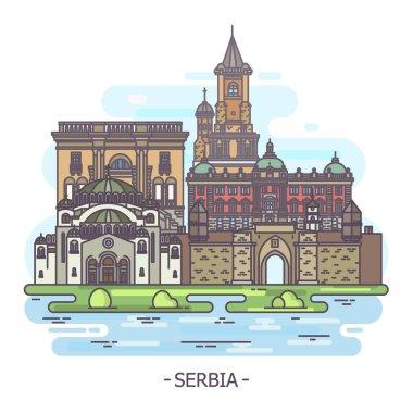 Serbian landmarks, Serbia architecture monuments, tourism theme