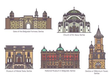 Serbian famous architecture landmarks in thin line