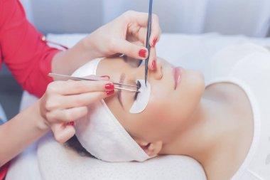 Cosmetologist making eyelash extensions, beauty procedure. stock vector