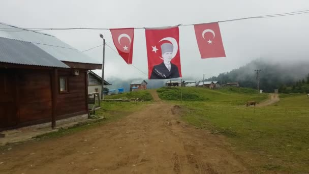 Rize, Turkey - July 2017: Scenery from a Plateau in Blacksea Karadeniz region with Ataturk flags in Rize, Turkey