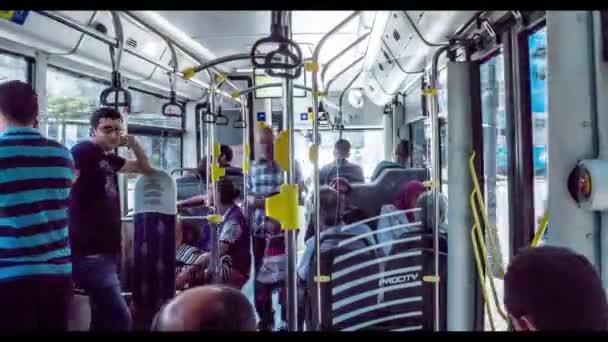 istanbul, Turkey - June 2017: Timelapse of istanbul public transport bus interior in traffic, Turkey