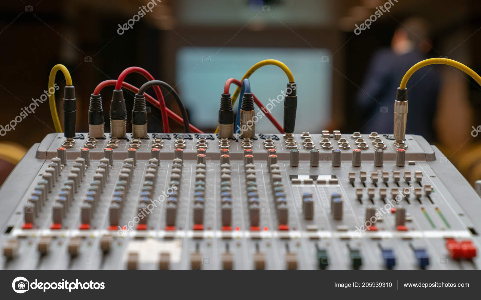 Various Electronic Sound Equipment Studio Mixer Shallow Depth Field Recording Wiring Selective Stock Photo