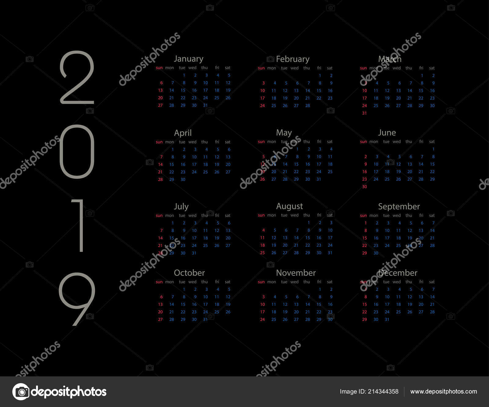 Calendario Giugno Luglio Agosto 2019.Anno 2019 Calendario Anno 2019 Modello Calendario Anno 2019