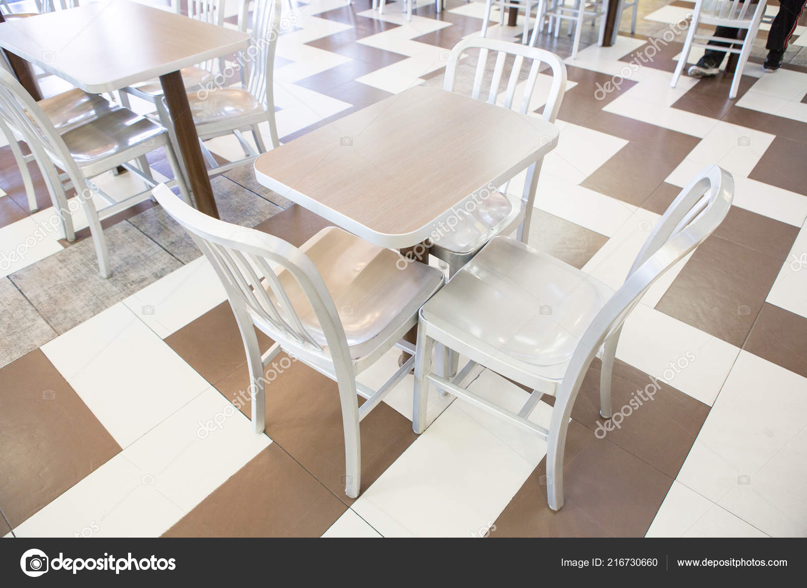 Wondrous Set Modern Silver Wooden Table Chairs Restaurant Stock Machost Co Dining Chair Design Ideas Machostcouk