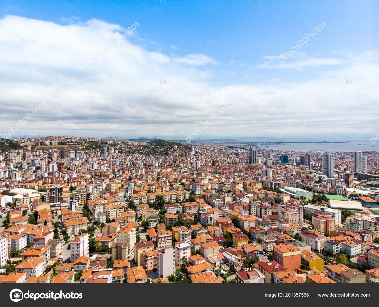 Aerial Drone View Unplanned Urbanization Istanbul Kartal Yakacik