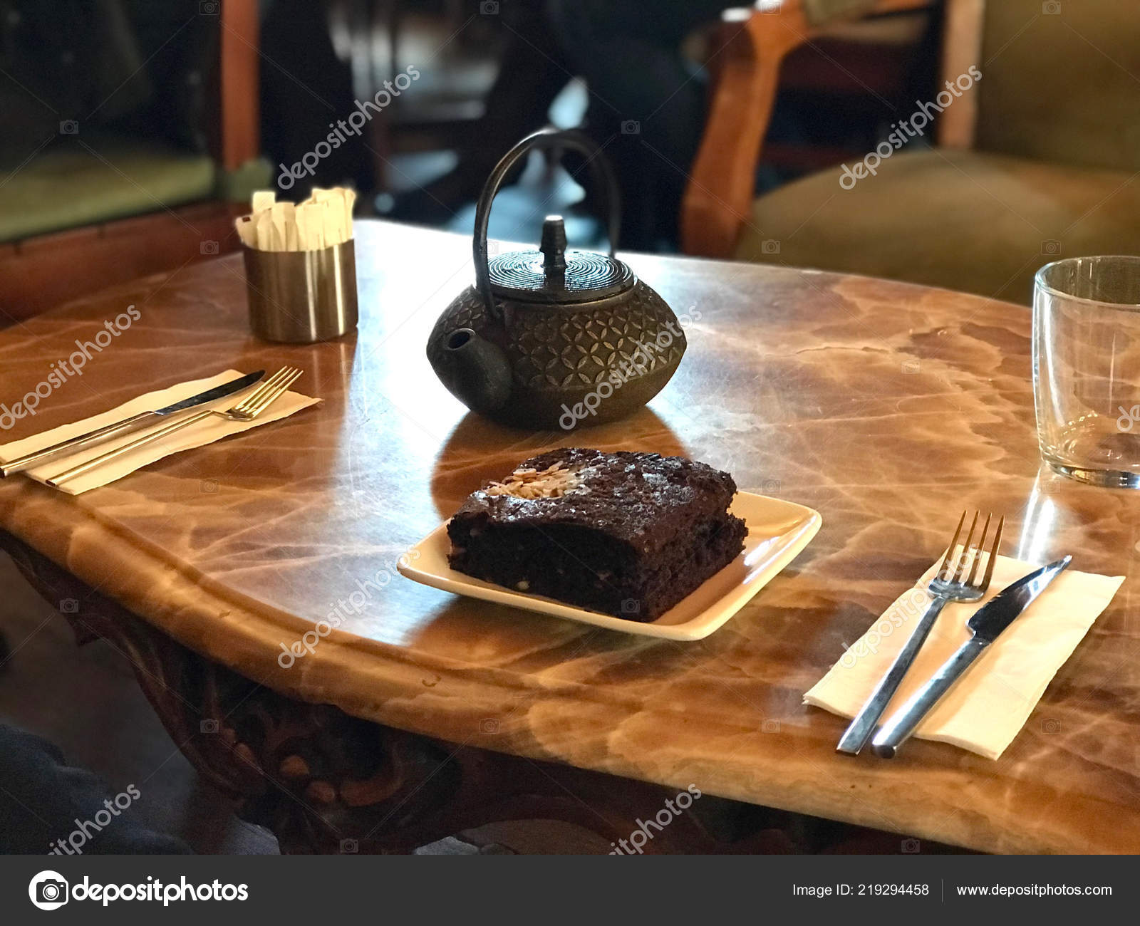 Brownie Served Tea Cafe Restaurant Dessert Concept Stock Photo C Alp Aksoy 219294458