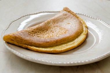 Fluffy Omelette Homemade Mont Saint Michel Style for Breakfast.