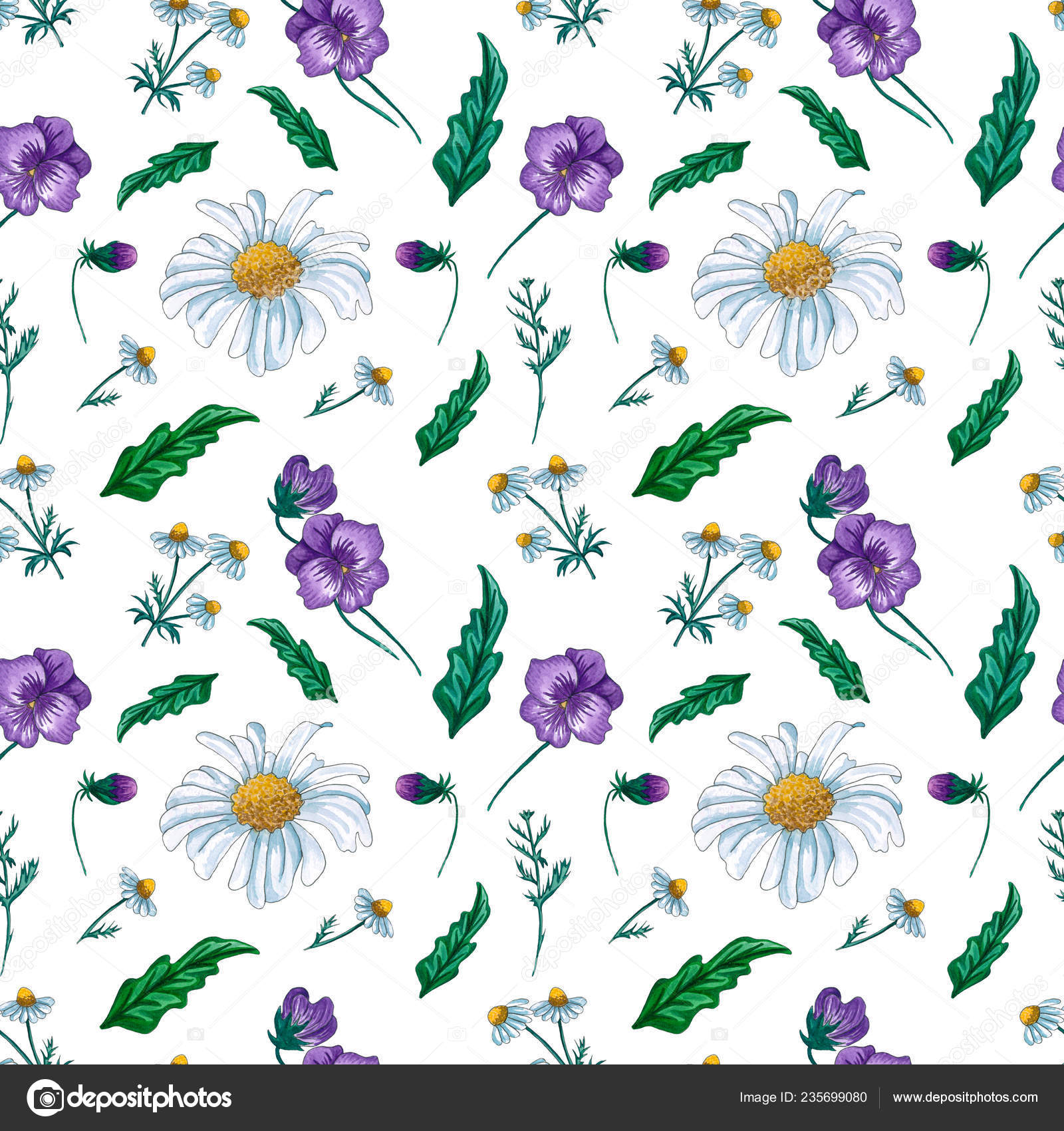 Watercolor Floral Pattern Wildflowers Delicate Seamless Flower