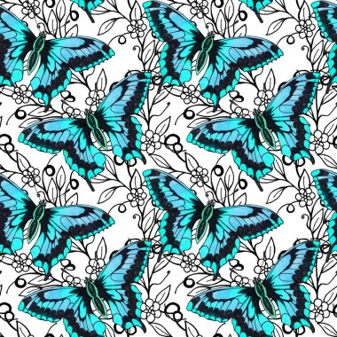 Butterflies moths insects animals fly. Seamless pattern with bytterflies. Wallpaper. Rose Chamomile Wildflowers Floral. Graphic flowers.  Beautiful seamless floral pattern with butterflies.