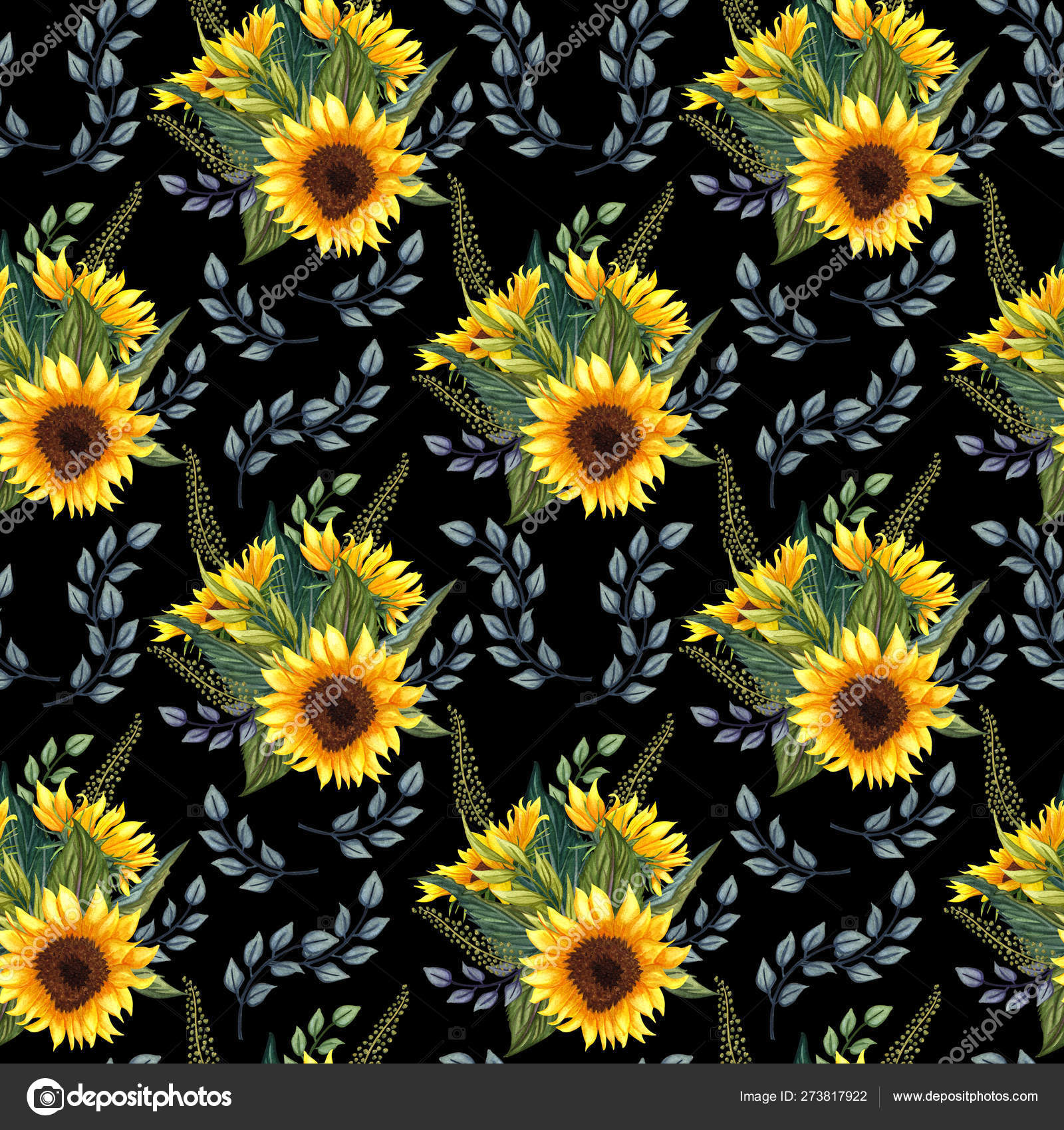 depositphotos 273817922 stock photo seamless pattern with sunflowers on