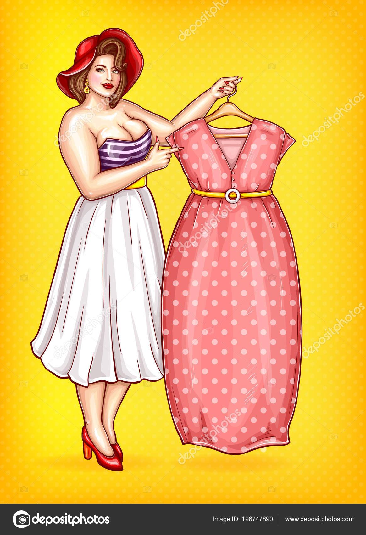 Vector mujer con sobrepeso, señalando en el vestido a medida ...