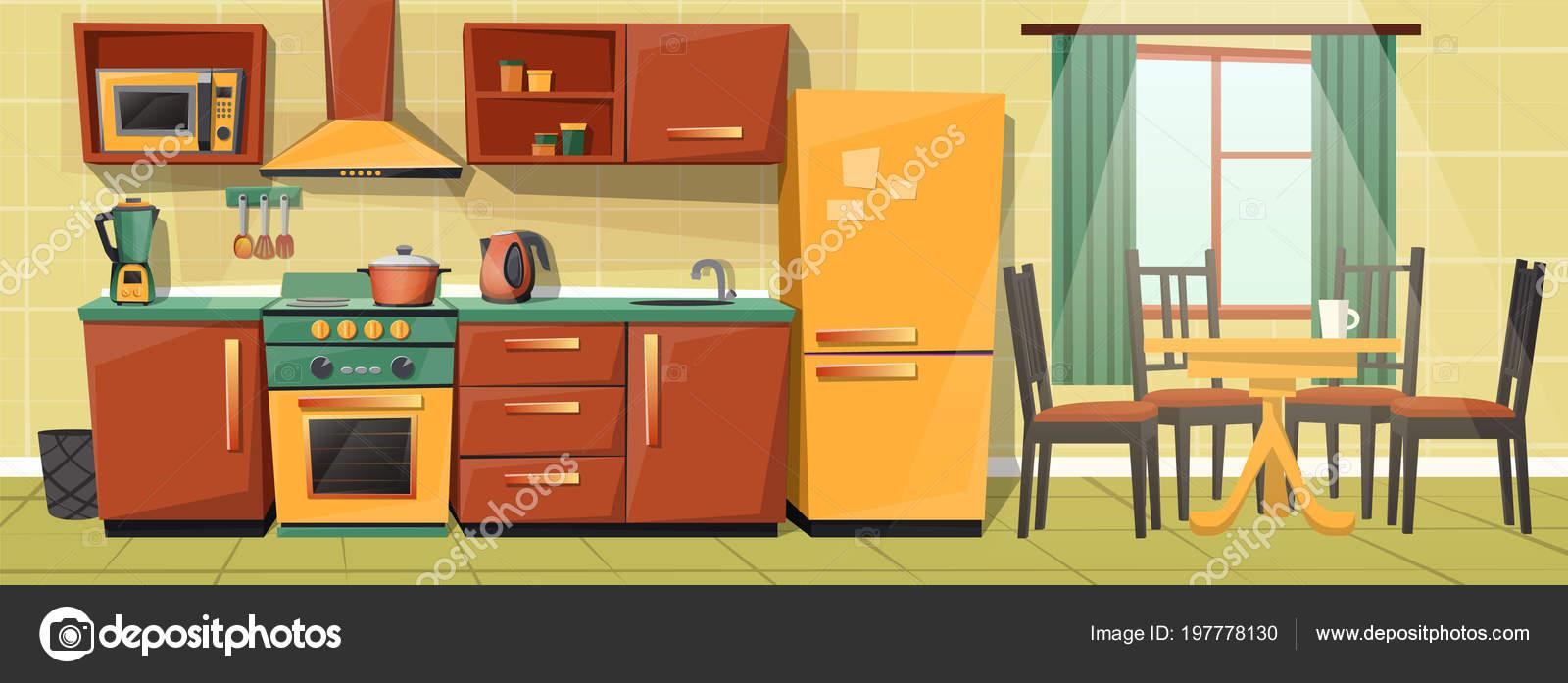 Cocina familia de dibujos animados de vector con los ...